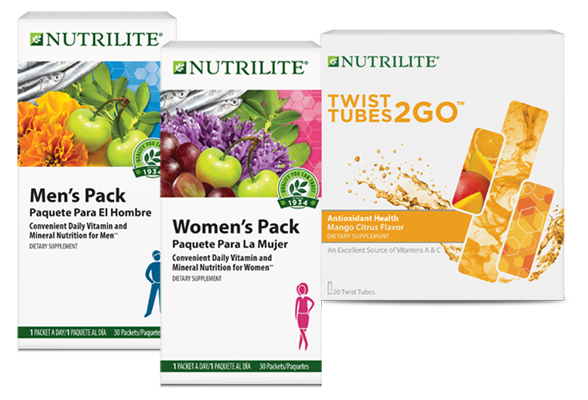 Image of Nutrilite Men's and Women's Pack with Nutrilite Twist Tubes 2-Go Antioxidant Health.