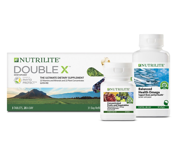 Nutrilite™ Double X™ Multivitamin shown with turmeric, rosemary and fava d'anta