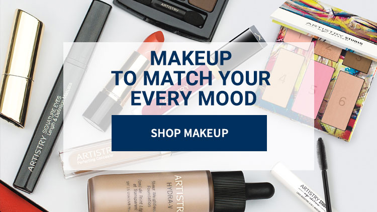 Makeup to match your every mood: Shop Makeup. Background image shows a variety of Artistry makeup products.