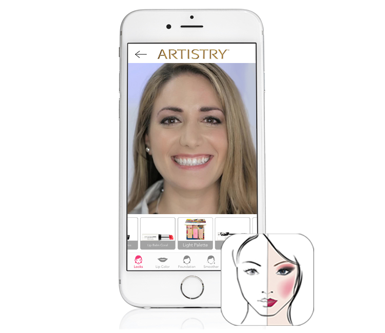 Artistry Virtual Beauty App shown on an iPhone