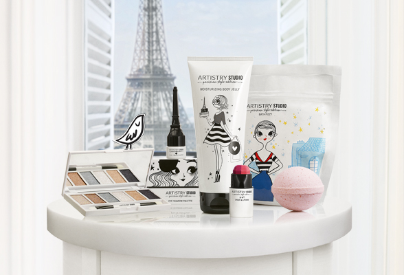 Artistry Studio Parisian Edition Products displayed on a table.