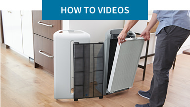 How-To Videos: Take a closer look. Background image shows someone changing the filter on an Atmosphere™ Sky air treatment system.