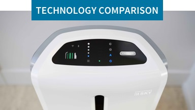 Technology Comparison: The clear choice for clean air.  Background image shows functional buttons on top of an Atmosphere™ Sky air treatment system.