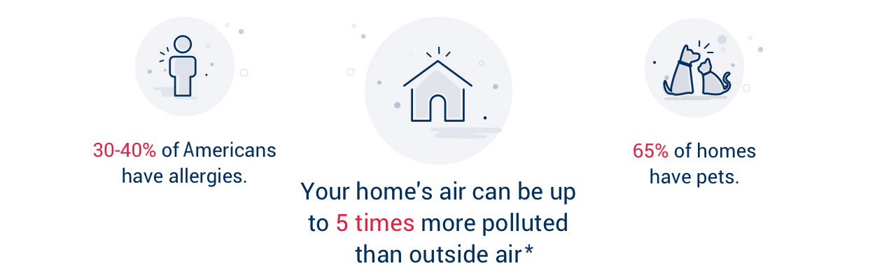 Clean Air Facts graphic. Fact 1: 30-40% of Americans have allergies. Fact 2:Your home's air can be up to 5 times more polluted than outside air. Fact 3:65% of homes have pets.