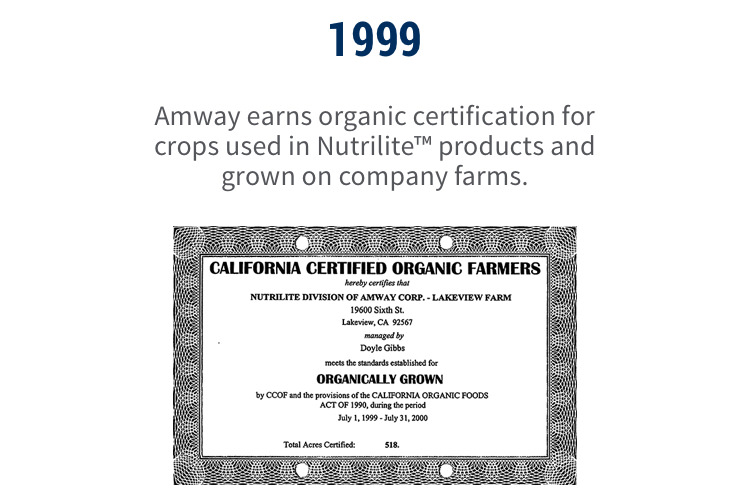 1999: Amway earns organic certification for crops used in Nutrilite™ products and grown on company farms.