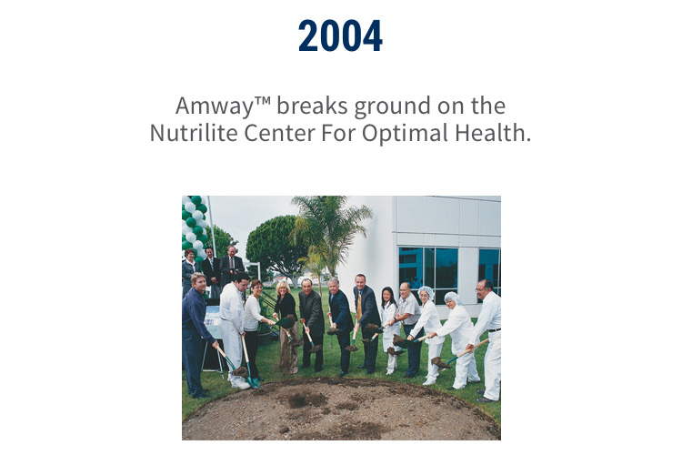 2004: Amway breaks ground on the Nutrilite Center For Optimal Health.