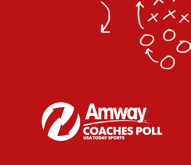 Amway Coaches' Poll and USA Today Sports logo with a diagram of a football play.