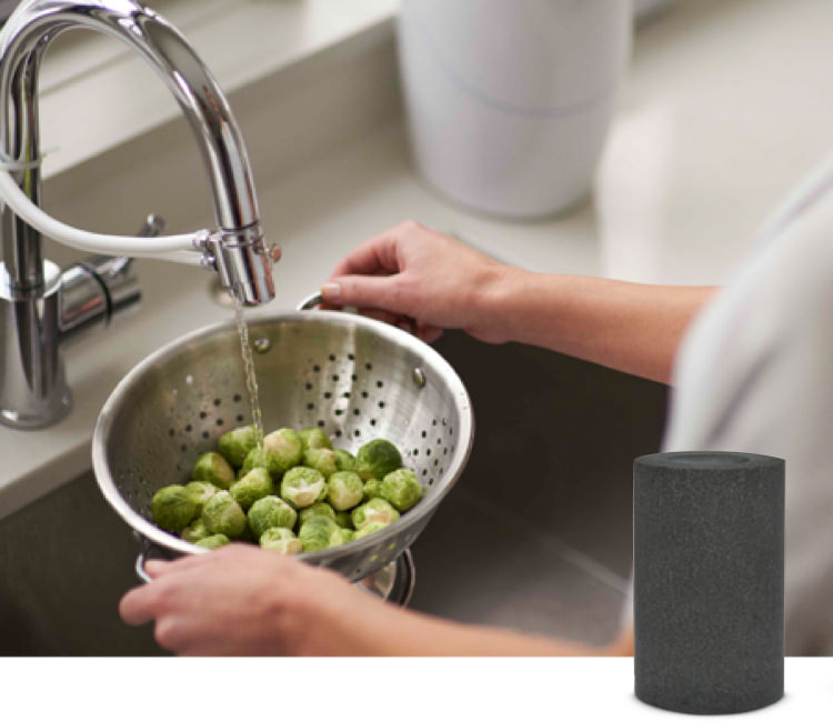 Woman running water with an eSpring™ above the counter unit attached to her kitchen faucet, washing brussel sprouts in a colander. Carbon filter shown next to the image.