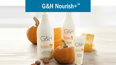 G&H Nourish+™: Hydrate your skin. Background image shows G&H Nourish+™  Body Lotion, G&H Nourish+™  Body Wash, G&H Nourish+™  Hand Cream, G&H Nourish+™  Completion Bar, surrounded by pumpkins, honeycomb, shea nuts.