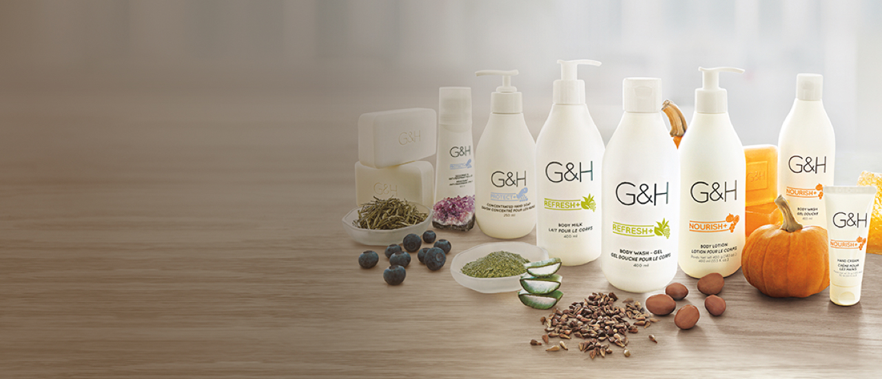 G&H products shown with naturally-inspired ingredients: G&H Nourish™+ Body Lotion, G&H Nourish™+ Body Wash, G&H Nourish™+ Hand Cream, G&H Nourish™+ Completion Bar,