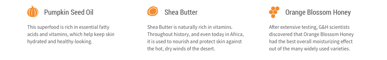 Pumpkin Seed Oil – This superfood is rich in essential fatty acids and vitamins, which help keep skin hydrated and healthy-looking. Shea Butter – Shea Butter is naturally rich in vitamins.