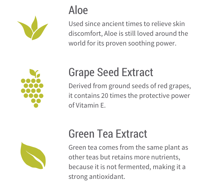 Aloe – Used since ancient times to relieve skin discomfort, aloe is still loved around the world for its proven soothing power. Grape seed extract – Derived from ground seeds of red grapes,