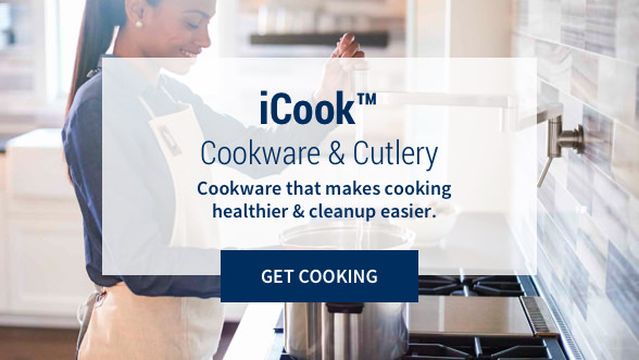 iCook™ Cookware & Cutlery: Cookware that makes cooking healthier & cleanup easier. Get Cooking. Background image showing a woman smiling while cooking on the stove.