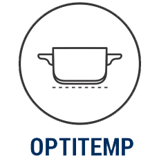 iCook™ Optitemp™ icon showing even heat distribution under an uncovered pot.