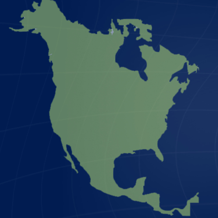Image of North America in green on a dark blue background. Headshots of executive leadership: Jim Ayres, Jackie Nickel, Rajneesh Chopra, Len Iakiri, Sarah Argomaniz.